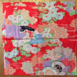 Vintage kimono fabric Red tsuzumi daiko – 2
