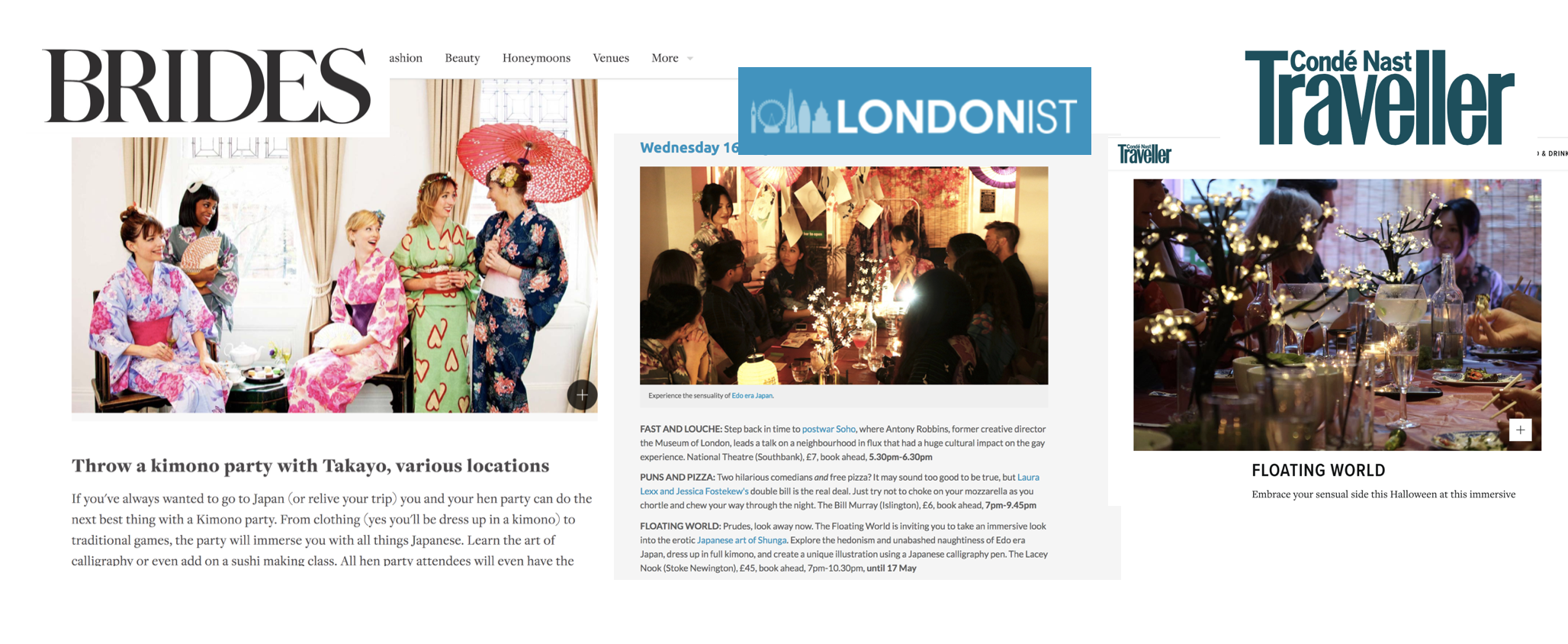 takayo press brides magazine conde nast traveller londonist kimono party floating world