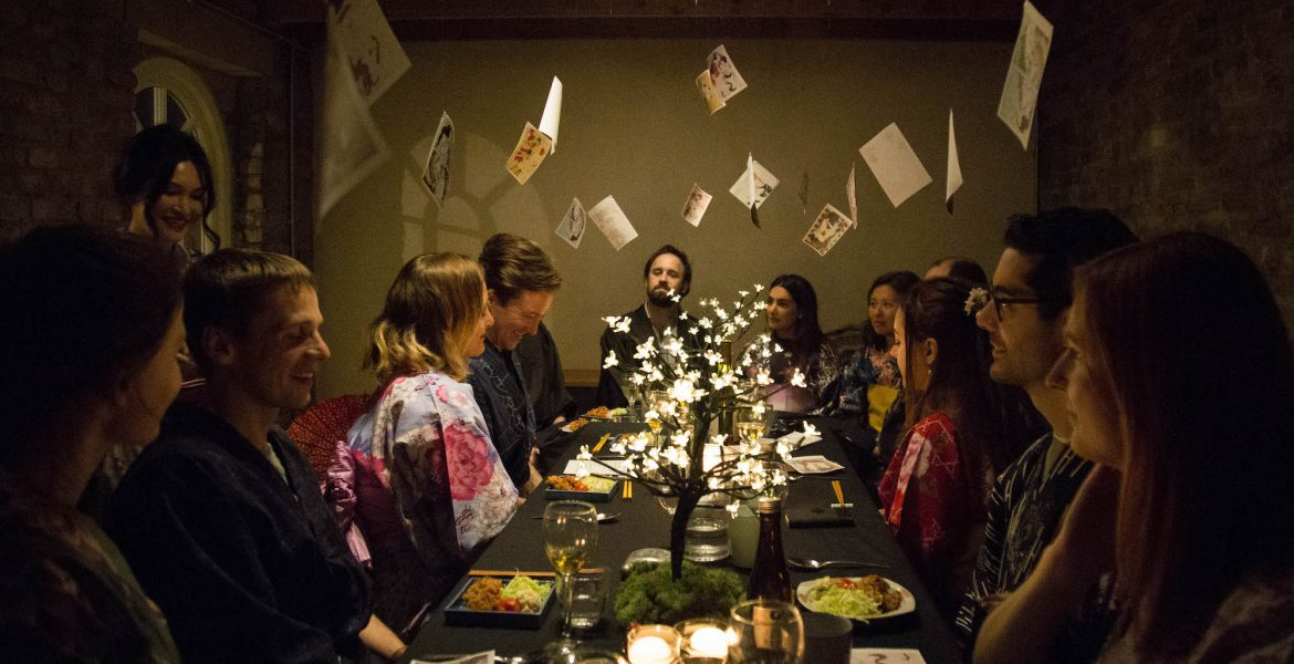 floating world london supper club immersive experience japan culture kimono shunga
