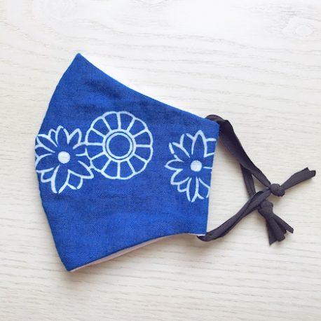 Japanese tenugui mask blue white 01