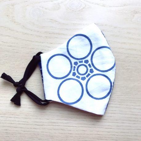 Japanese tenugui mask blue white 02