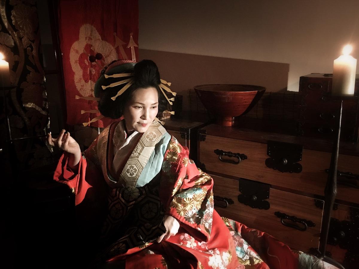 Japanese Oiran old kimono photo
